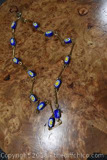 20in Long Venetian Bead Necklace from Italy