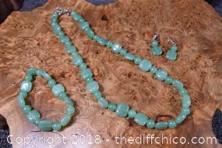 Jade Bracelet, Earrings and Necklace