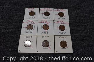 9 Mint Error coins