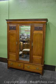 Vintage Mahogany 3 Door Armoire w/Beveled Mirror Door and 3 Drawers