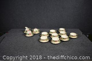 9 Franciscan Desert Rose Cups, 12 Saucers, 2 Sugars w/lids and 1 Creamer