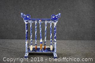 Porcelain Oriental Blue and White Calligraphy Brush Hanger