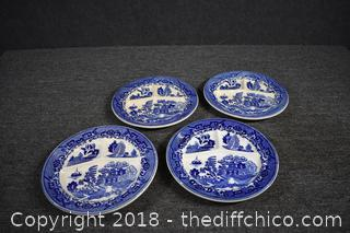 4 Blue Willow Divided Plates
