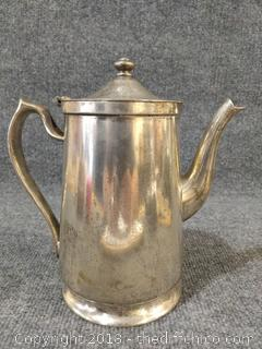 "Grand Silver Company Vintage Tea/Coffee Pot - Very Heavy - 9.5"" Tall"