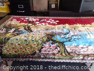 "Vintage Peacock Tapestry - Made in Morocco - Cotton/Rayon - 68"" x 46"""