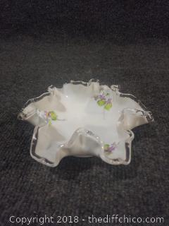 Fenton Ruffle Top Candy Dish Signed by Artist - Hand Painted