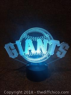 "Light Up Giants Desk Sign 3D Lamp - Multi Color - 9.5"" x 7.5"""