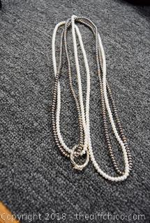 36in long Culture Pearls w/Sterling Silver Clasp