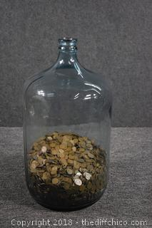 Glass Water Jug w/Over 6,000 Wheat Penny's