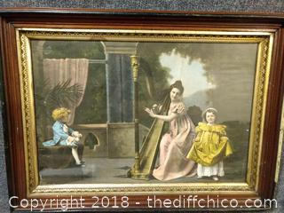 """Antique Framed Picture - 23"""" x 17"""""""