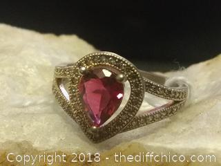Sterling Silver Ruby Gemstone Ring - Size 7