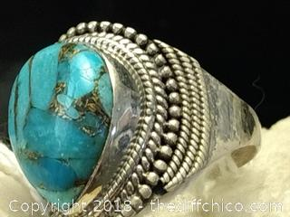 Blue Copper Turquoise Sterling Silver Ring - Size 9