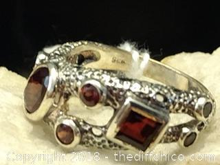 Natural Garnet Sterling Silver Ring - Size 9