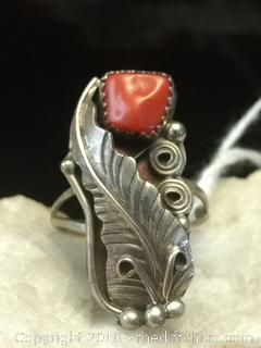 Navajo Indian Sterling Silver Red Coral Feather Ring - Size 8.5""