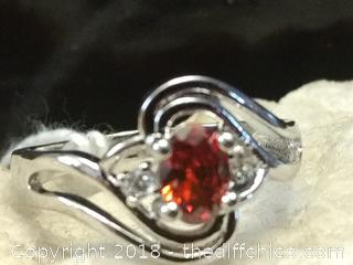 Sterling Silver Red Ruby Ring - Size 9