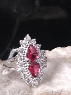 Ruby and White Topaz Sterling Silver Ring - Size 7