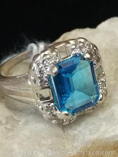 Fire Blue Topaz Sterling Silver Ring - Size 6.5""