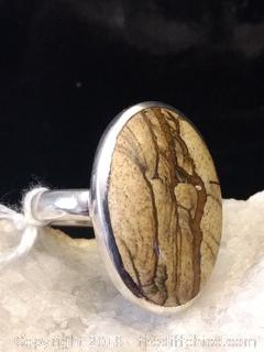 Picture Jasper Sterling Silver Ring - Size 8
