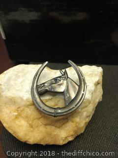 """Vintage Metal Horse Pin - 2.5"""" x 3.5"""""""