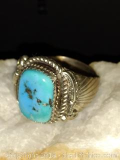 Sterling Silver Navajo Turquoise Men;s Ring - Size 12 - Signed E
