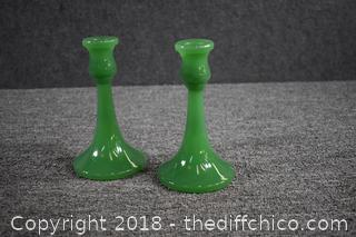 Pair of Jadite Green Candle Holders