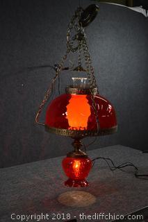 Working Vintage Hanging Swag Lamp