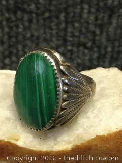 Malachite Stone Mens Silver Ring - Unmarked - Vintage