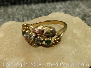 Black Hills Gold 10 KT Gold Ring with 4 Birth Stones - Vintage