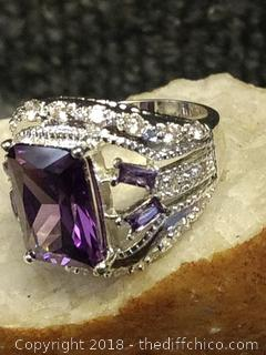 Sterling Silver with Amethyst and White Topaz Ladies Ring - Size 7