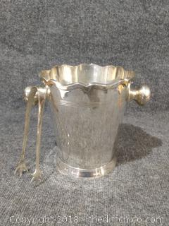 Leonard E.P.N.S. Vintage Silver Plated Ice Bucket with Matching Tongs