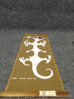 "Early Maori Rock Art - Hand Painted Rotorua New Zealand Tapestry - 9"" x 23"""