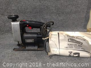 """Craftsman Scroll Saw 1"""" Stroke Variable Speed with Owner's Manual - Working"""