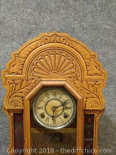 "1900 Oak Stained ""Kitchen Clock"" - Needs Some Repairs But is Working"