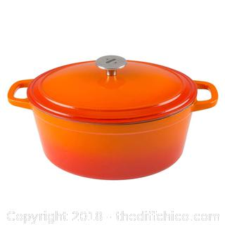 Zelancio 6 Quart Cast Iron Enamel Covered Oval Dutch Oven Cooking Dish with Skillet Lid