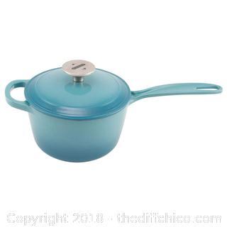 Teal Zelancio 2 Quart Cast Iron Enamel Sauce Pan Pot Covered Sauce Pot