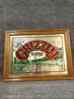 "Vintage Grizzly Beer Mirror - 21"" x 16"""