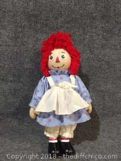 Porcelain Raggedy Ann Doll - Vintage