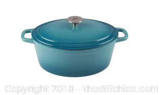Zelancio 6 Quart Cast Iron Ename Oval Dutch Oven Lid (Teal) - A2