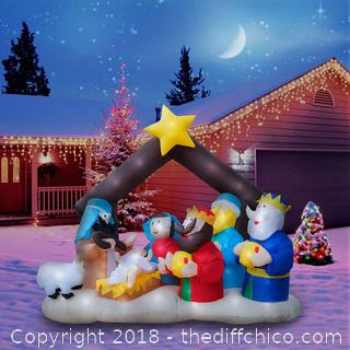 6.5 Ft. Giant Inflatable Christmas Nativity Scene Featuring Lighted Interior R9