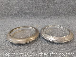 Vintage Etched Glass and Silver Plate Rimmed Champagne Coasters (2)