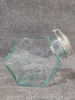 "Hermetic Hexagon Green Glass Jar Storage Container - 11"" x 9"""