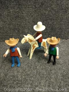 Geobra 1974 Playmobil Cowboys and Horse - Vintage
