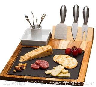 Zelancio Slate Cheese Board Set - 10 Piece Set Includes 4 Stainless Steel Cheese Tools - A22
