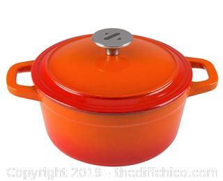 Zelancio 3 Quart Cast Iron Enamel Covered Dutch Oven  (Orange) A30