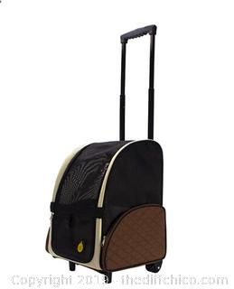 FrontPet Airline Approved Rolling Pet Travel Carrier with Wheels and Backpack Straps A11