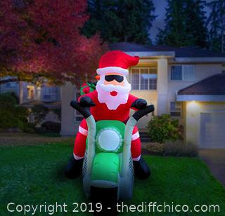 Holidayana 7-Foot Inflatable Santa on Motorcycle Christmas Decoration A18