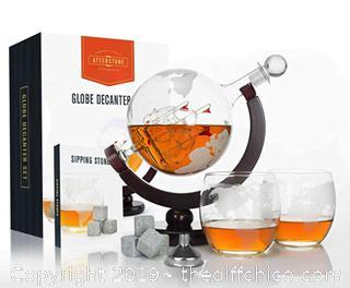 Atterstone Globe Whiskey Decanter Set, 850-ml Gift Set A36