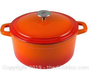 Zelancio Cookware 6 Quart Cast Iron Enamel Covered Dutch Oven ORANGE A19