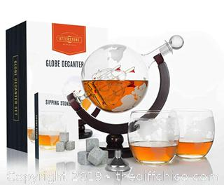 Atterstone Globe Whiskey Decanter Set, 850-ml Gift Set X46