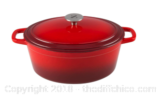 Zelancio 6 Quart Cast Iron Enamel Covered Oval Dutch (Red) -X39